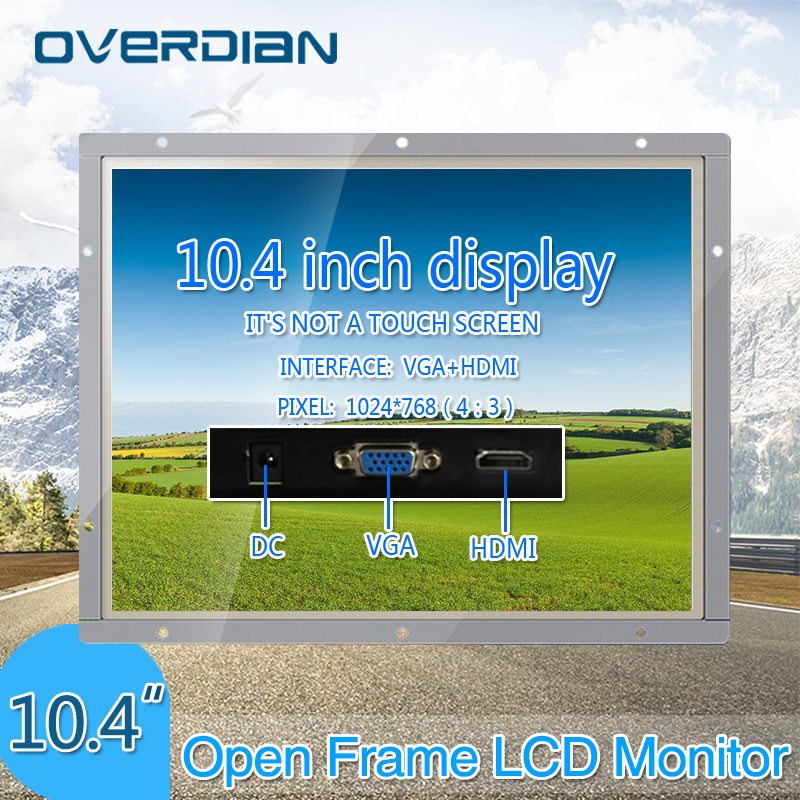 10/10.4 Industrial Control Lcd Non-Touch Screen Monitor VGA/HDMI Interface Metal Shell White Open Frame 1024*768 8 8 4 inch vga dvi interface non touch industrial control lcd monitor display metal shell buckle card installation 4 3