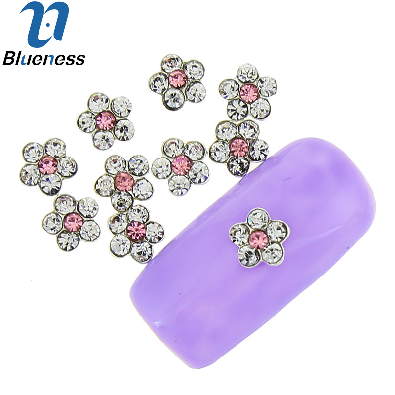 10 Pcs/Lot Crystal Rhinestones For Nails Flower Design 3D Nail Art Decorations Glitter Alloy Pink Strass Manicure TN1744 50 pcs set 3d nail art decorations glitters diy nail tools full rhinestones silver crown crystal nails studs1