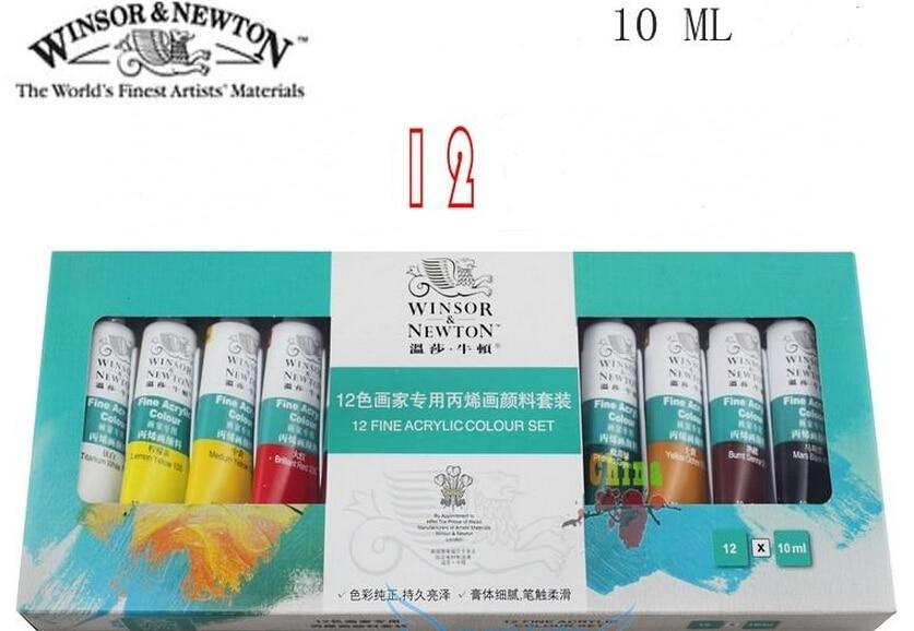 hotsale 12 color winsor newton acrylic paints fine set wall nail art pigment textile painted propylene - Colorant Textile