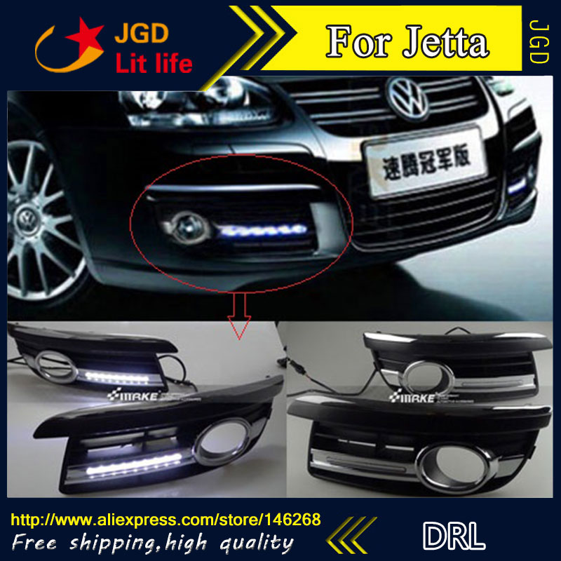 Free shipping ! 12V 6000k LED DRL Daytime running light for VW Jetta 2006-2010 fog lamp frame Fog light Car styling for vw jetta 5 jetta mk5 2006 2007 2008 2009 2010 2011 new 9 led drl daytime running light fog light fog lamp