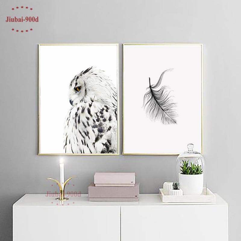 900D והדפסי קיר אמנות בד ציור קיר תמונות לסלון נורדי ינשוף קישוט בית תפאורה NOR026