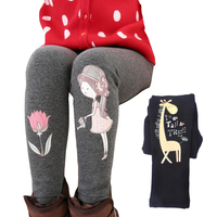 Winter Pants For Girls Thick Plus Velvet Leggings Cotton Cartoon Children Trousers For Girls Warm Bottoms