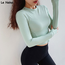 Orange Long Sleeve Workout Tops Yoga Top Shirts Sports Wear for Women Gym Crop Top Shirts Fitness Gym Jerseys camisas para mujer