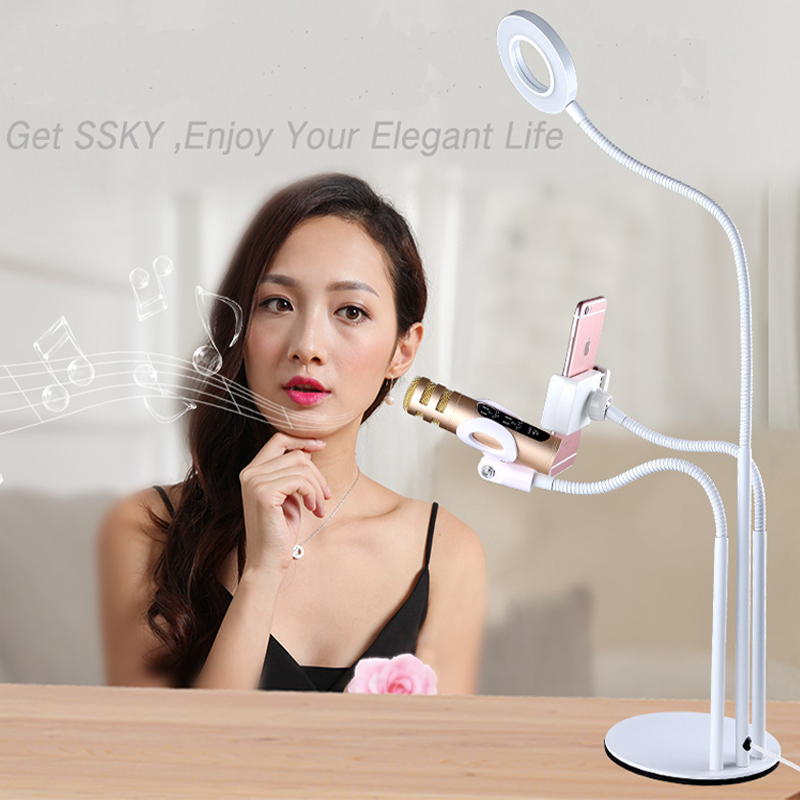 3in1 Selfie Ring Light with Microphone & Cell Phone Holder for Live Stream and Makeup LED Camera Light for iPhone Android Phone