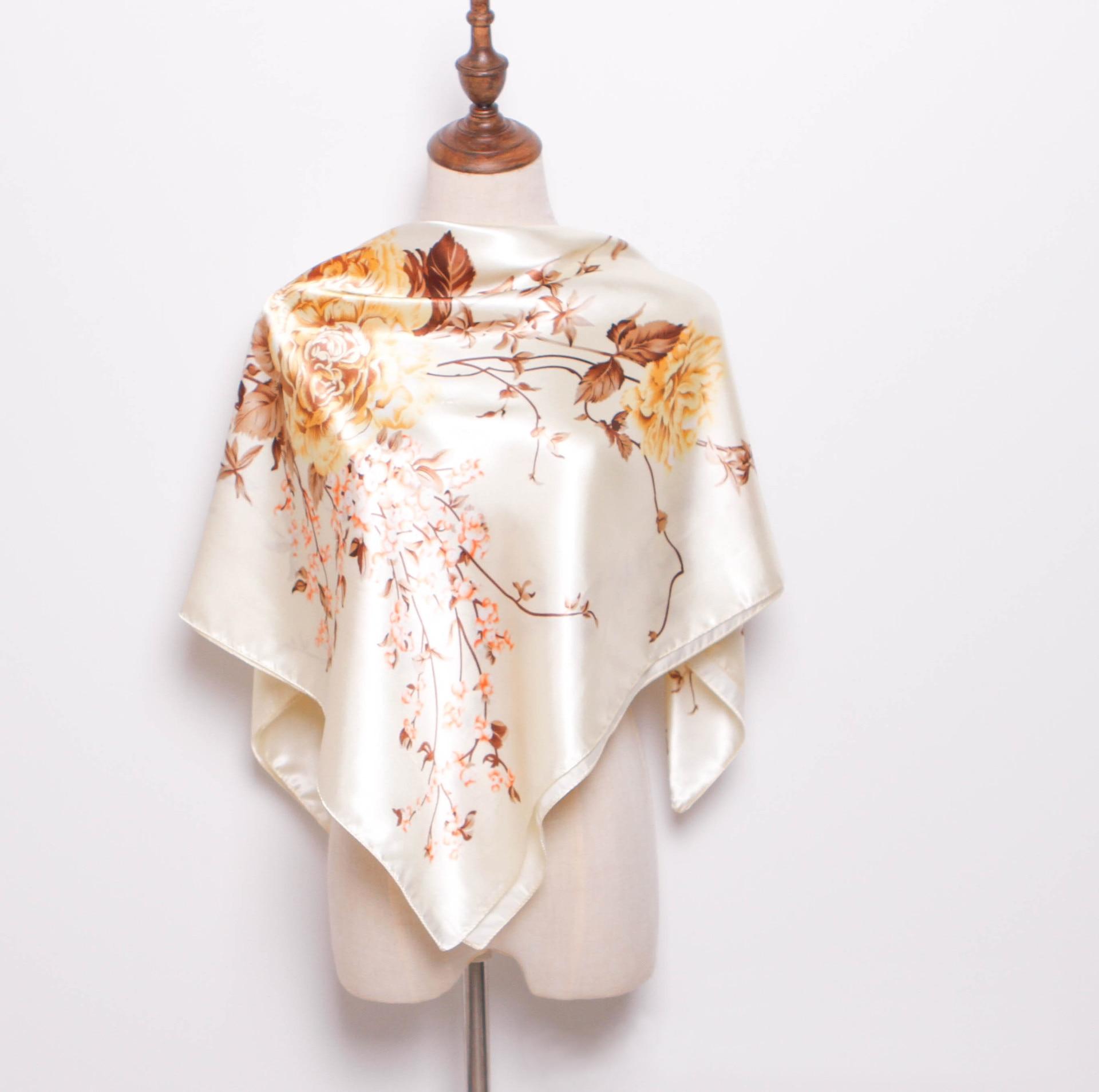 FXAASS Bandana Women Hijab Square Scarf Fashion Ladies Retro Luxury Silk Scarf Shawls Flower Print 90*90cm Large Cape Headscarf