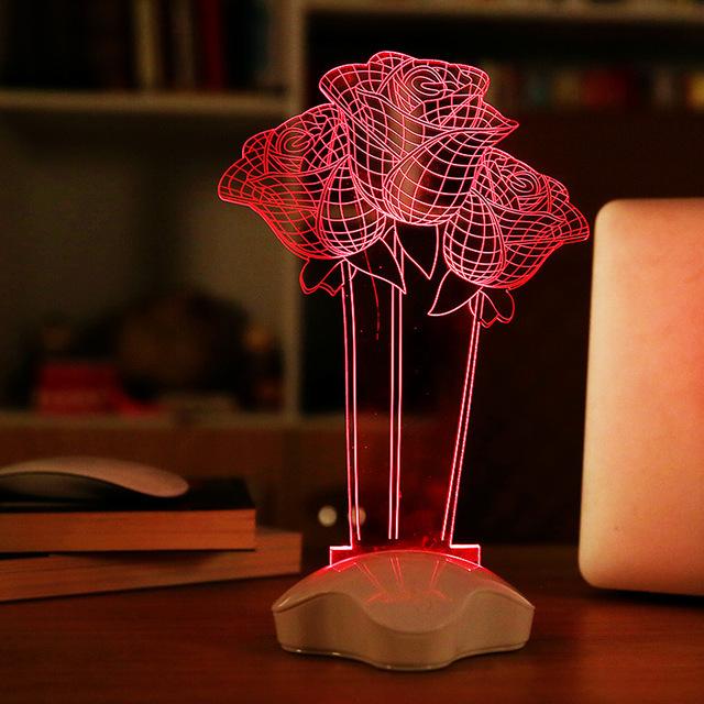 1 Peça presente do Dia Dos Namorados criativo 3D CONDUZIU a lâmpada USB lâmpada luz da noite da lâmpada de cabeceira