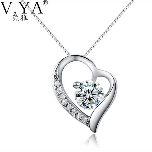 100% S925 Silver Pendants 925 Sterling Silver Pendant CZ White Purple Crystal  Heart Pendants Necklaces for women Jewelry CP126
