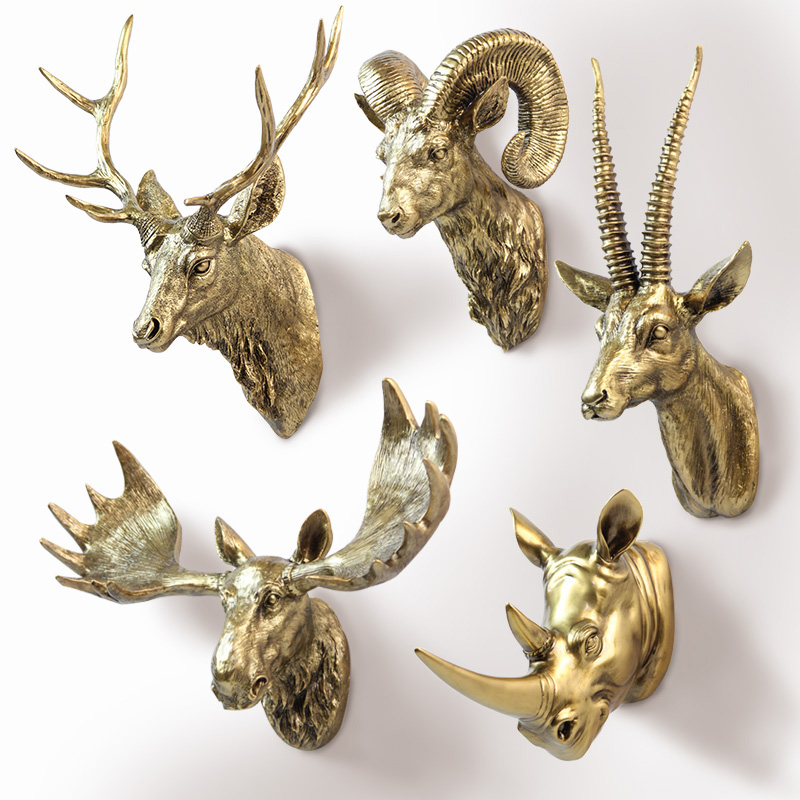 American Animal Deer Head Hanging Wall Mural Pendant Ornaments Home Decoration Accessories coffee Bar/ hotel Decor