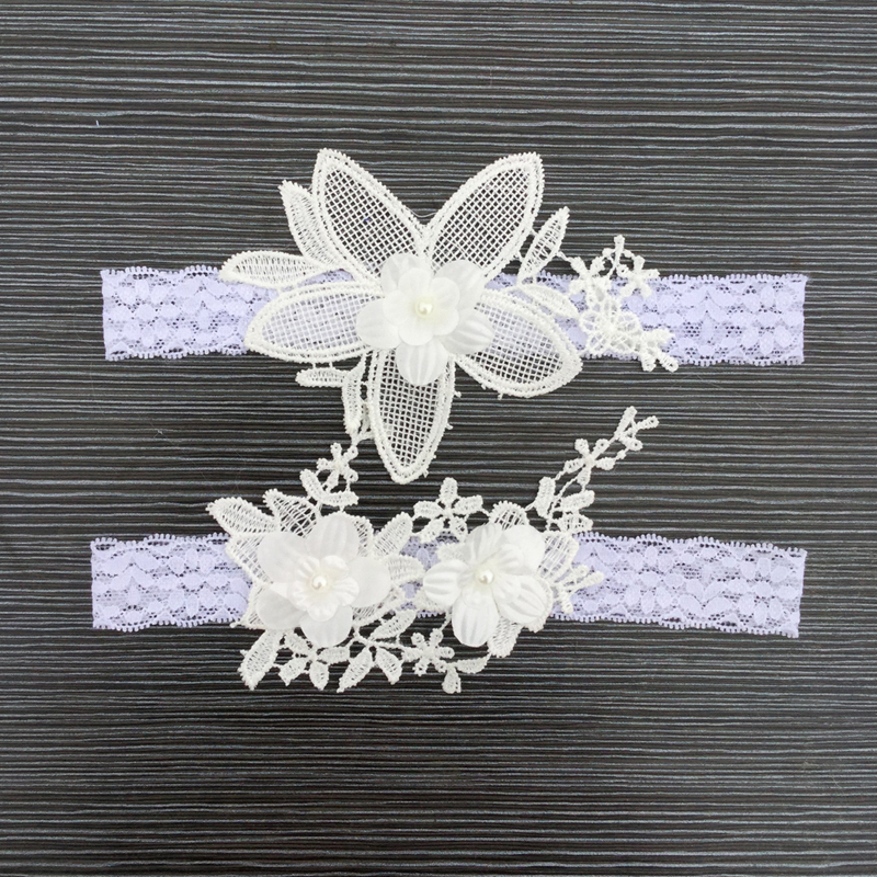 2Pcs/set Big Flowers Bride Garter Lace Wedding Women's