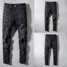 Italian Style Fashion Skinny Jeans Stretch Casual Pants New Designer Classical Men Hole Black Color