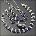 Azul Creado Zafiro Blanco Topaz 925 Plata de La Joyería Para Las Mujeres Pendientes/Anillos/Pendiente/Collar/pulseras Caja Libre