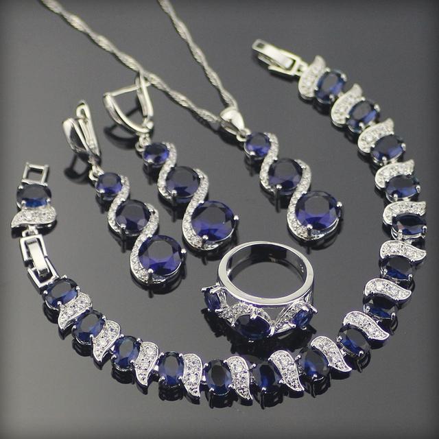 Azul Criado Sapphire Branco Topaz 925 Sterling Silver Conjuntos de Jóias Para As Mulheres Brincos/Anéis/Pingente/Colar/pulseiras Caixa Livre