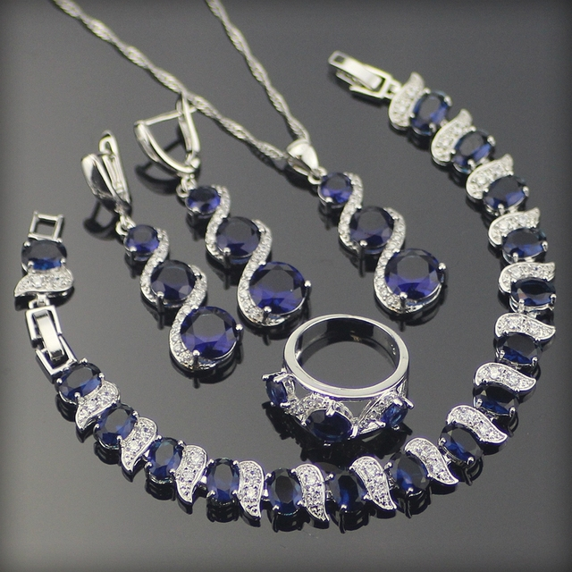 Costume Silver 925 Jewelry Sets Women Earrings/Rings/Pendant/Necklace/Bracelets