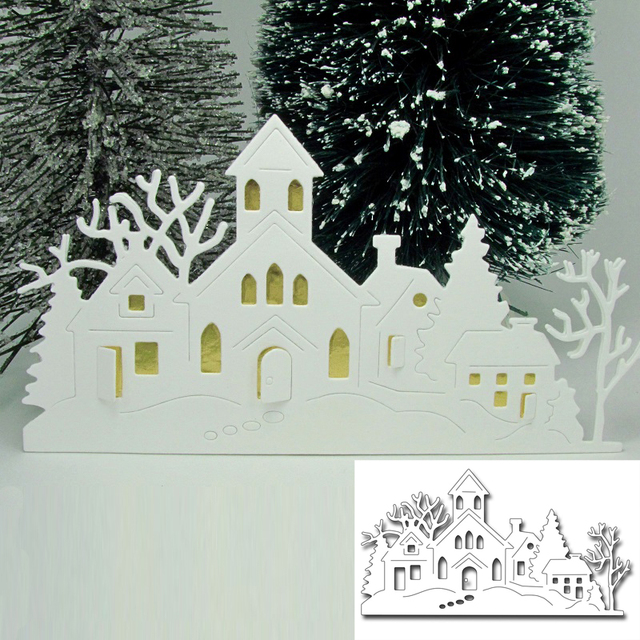 Peace Winter House Metal Cutting Dies New 2018 Stencils For Diy Scrapbooking Diy Paper Cards Craft