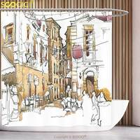 Stylish Shower Curtain Watercolor Decor Sketch Of Street With Old Buildings Town Artisan Paintbrush Artwork Sand
