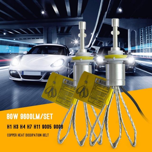 Супер яркий светодиодный светильник H11 80 Вт 9600lm H8 H9 H11 светодиодные фары 6000 К автомобиля Белый свет спереди лампы автомобилей налобный фонарь