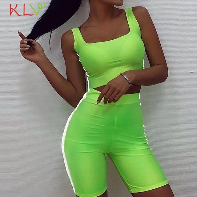 Conjunto de dos piezas reflectante neón verde Crop Top mujer corto Sexy traje Top y pantalones moda Casual ropa de verano 19Jul3