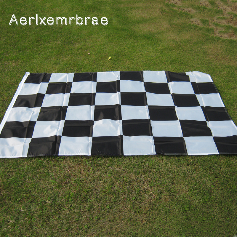 Envío gratis aerlxemrbrae 3 * 5FT Racing Flag Hanging Racing a cuadros Flag