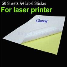 50 листов, А4, клейкая бумага, глянцевая поверхность, пустая этикетка 210x297 мм для лазерного принтера, принимаем индивидуальный заказ