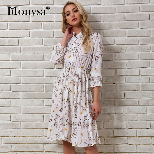 Women Dress 2018 Summer Autumn New Arrivals White Chiffon Floral Print Dresses Ladies Casual Pleated Knee Length Dress Elegant