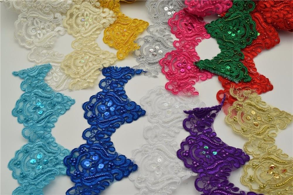 9.5yards 12colors Pearl Beaded & Sequin Dasma e zbukuruar Trim për zanatin e qepjes së dasmave me shumicë