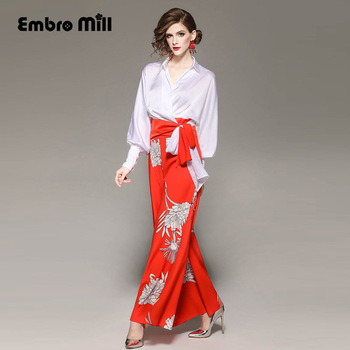 Womens two piece set new arrival fashion  V-neck Lantern sleeve Bow Lace shirt top + print Wide leg pants lady suit S-XL