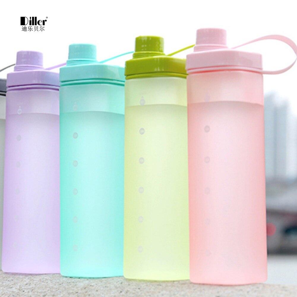 Diller 550 ML Nueva Botella de Agua de Plástico barril Cuadrado Al Aire Libre Po