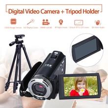 цена на ORDRO HDV-V12 3.0 LCD 1080P FHD Digital Camera Camcorder 16x Zoom DVR IR Night Vision CMOS Sensor Remote Control + Tripod