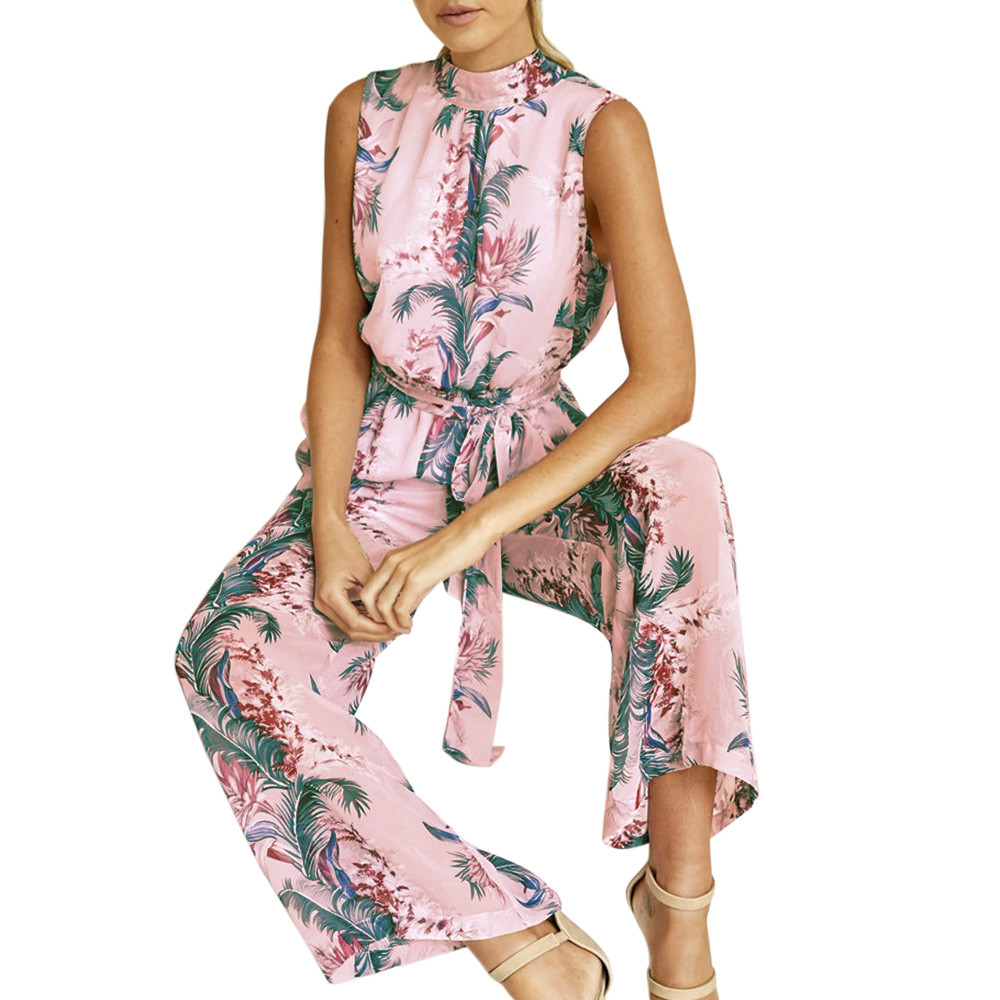 Free Ostrich Summer Women Playsuit Bodycon Sexy Chiffon Floral Printed Backless Bandage Wide Leg Pants Sleeveless Jumpsuit D1335