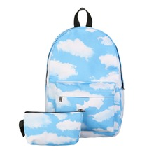 2Pcs 3D Preppy Printing Backpack Set Teenage Travel School Bag Softback Notebook Bag Mochila Shoulder Bag