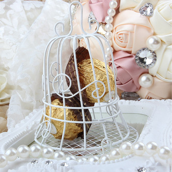 Iron Birdcage Boxes Wedding Crafts Metal White Bird Cage Candy Box Wedding Gifts Favors 30pcs