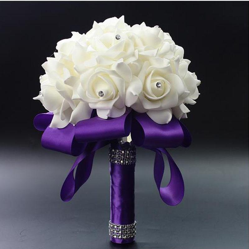 Bouquet Sposa Fucsia.Us 5 98 6 Di Sconto Perfectlifeoh Fucsia Rosa Artificiale Fiori Da Sposa Bouquet Sposa Bouquet Da Sposa Di Seta Di Cristallo Del Nastro In Bouquet