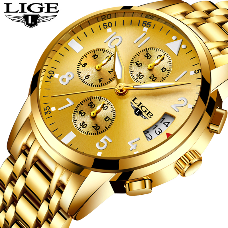 LIGE Top Luxury Brand Business Man Watch Analog Quartz Wrist Watch Luxury Golden Men's Watch Casual Male Clock Relogio Masclino mike 8825 men s business casual analog quartz wrist watch golden silver