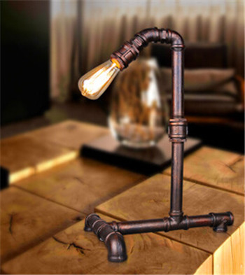 Edison Lamp Bulb Vintage Table Lamps Personalized Water Pipe Table Lights Desk Book Lamp E27 Loft/coffee shop/clothes store lamp loft american edison vintage industry crystal glass box wall lamp cafe bar coffee shop hall store club