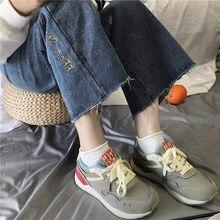 9508e4647 Outono Versão Coreana Do Selvagem Calçados Esportivos Harajuku Hong Kong  Sapatos Flat Sapatos Casuais Tênis de