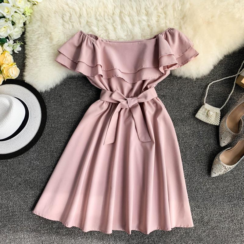 Ruffles Off Shoulder Sexy Summer Bandage Mini Short Dress Party Vestido De Festa Women Casual Beach Holiday Tie Elegant Vestidos
