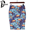 DayLook 2016 Vintage Print Skirts Womens Sexy Bodycon Skirt Mini Pencil Skirt Back Split Package Hip Plus Size S-3XL Saia