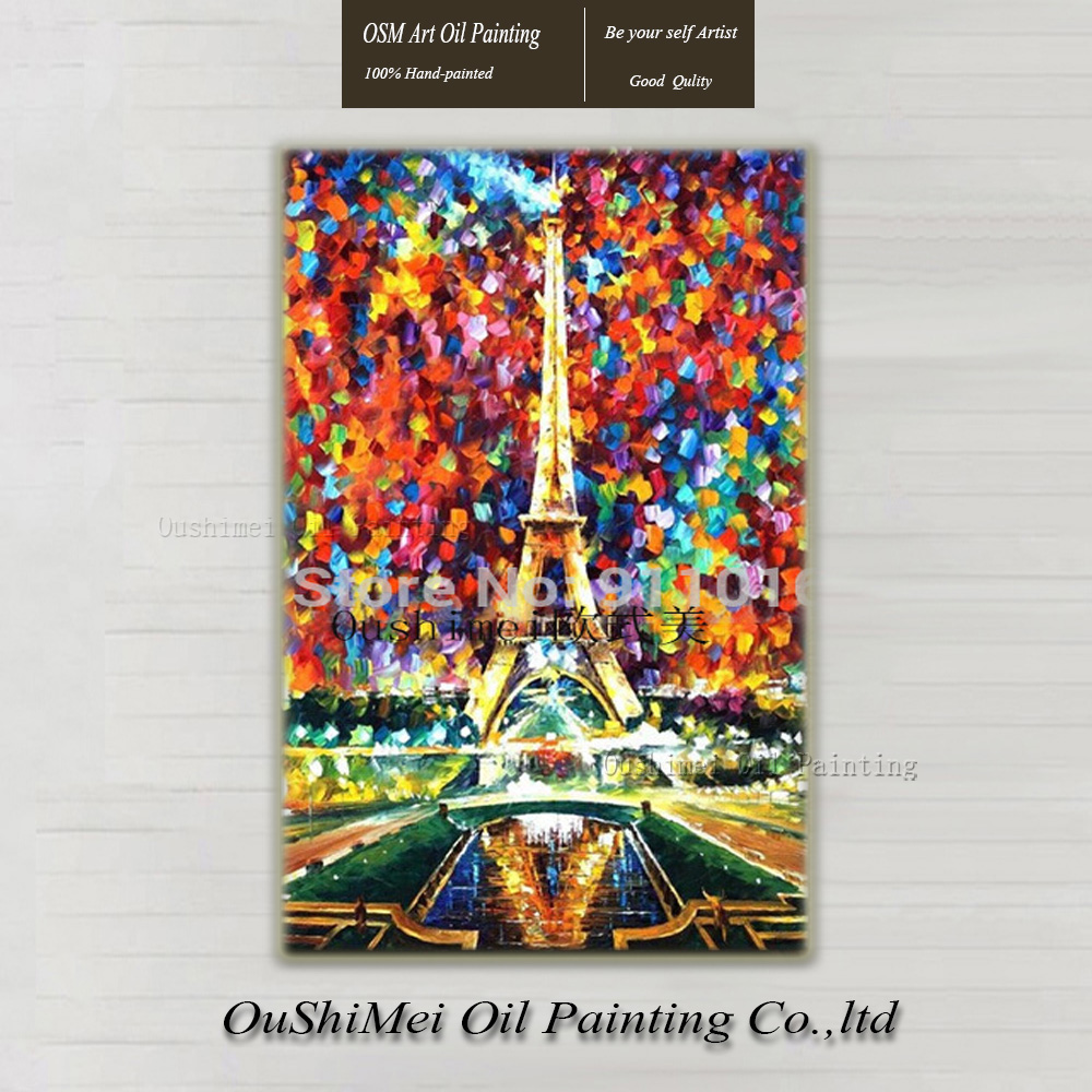 Wall Art The Eiffel Tower Pictures Hand Painted Home Decor Oil Painting On Canvas Hang Paintings Knife Landscape Modern Picture