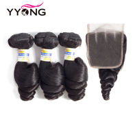 Yyong Hair Peruvian Loose Wave 3 Bundles Human Hair With Lace Closure 4*4 Free Middle Part Natural Color Non Remy Hair