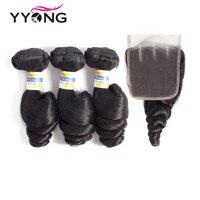 Yyong Hair Peruvian Loose Wave 3 Bundles Human Hair With Lace Closure 4*4 Free Middle Part Natural Color Non Remy Hair