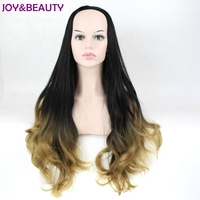 JOY BEAUTY Black Root Long Wavy Wig High Temperature Fiber 3 4 Half Wigs Synthetic Hair