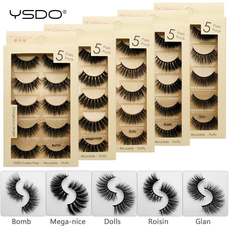 YSDO 5 pares de cílios 3d falso vison cílios naturais cílios maquiagem cílios vison tira cílios postiços feitos à mão 100% macio 3d cílios