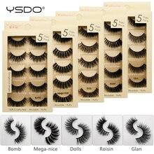лучшая цена YSDO 5 pairs eyelashes 3d faux mink lashes natural eyelashes makeup strip eyelashes hand made 100% soft mink eyelashes 3d lashes