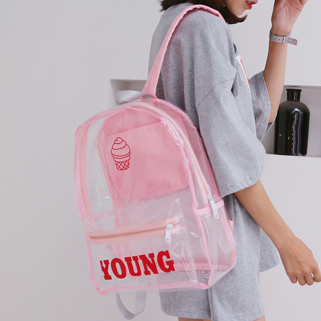 29328aba1a New Women Clear Backpacks Cute Waterproof School Bags Women Transparent  Backpack for Teenager Girls Ladies Backpack Knapsack