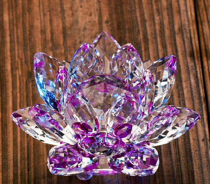 ღ ƹ ӝ ʒ ღlivraison Gratuite 120mm Violet Cristal Fleur De Lotus