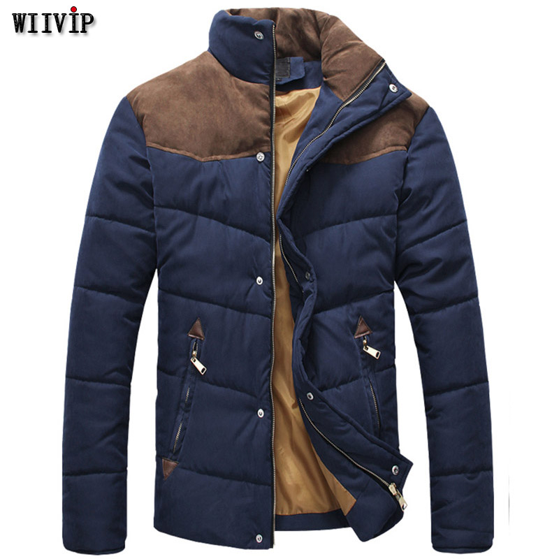Usd28.11 After 25% Off New Man Fashion Full Sleeve Stand Collar Patchwork Casual Parka Coat Warm Thicken Outerwear T0136