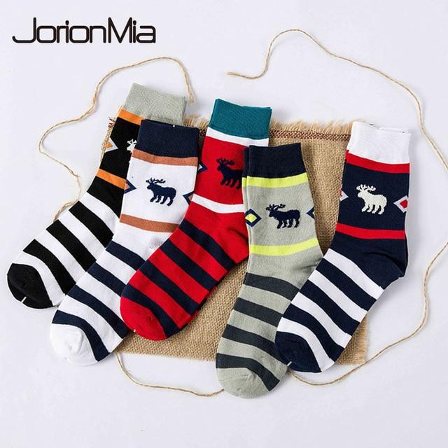 men winter socks man happy warm cotton socks christmas deer stripes meia mens socks colorful series - Christmas Socks For Men
