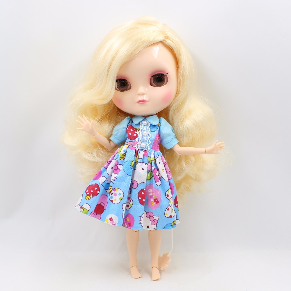 Neo Blythe Doll with Yellow Hair, White Skin, Shiny Face & Jointed Azone Body 3