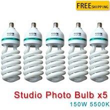 Yuguang 5 шт. 220 В 150 Вт E27 5500 К фотографии Освещение видео лампы Переход Сбалансированный E27 5500 К энергии энергосберегающие лампы фото студия