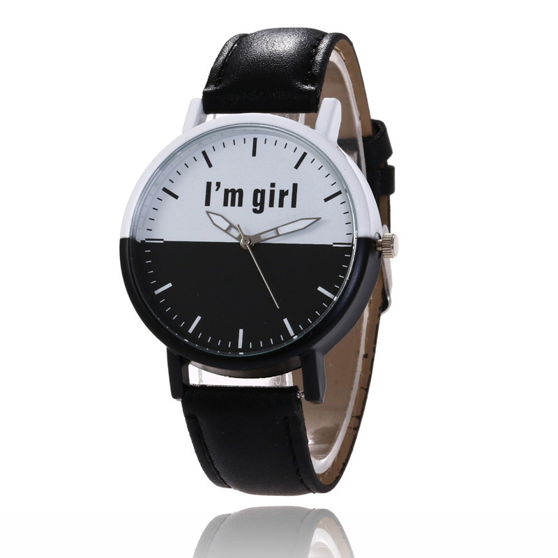 MJARTORIA New Fashion Quartz Watch For Women PU Leather Wristwatch Unique Black White Dial Sport Watch For Girl Dropshipping ultra luxury 2 3 5 modes german motor watch winder white color wooden black pu leater inside automatic watch winder